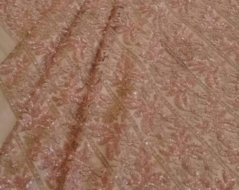 Rose Gold Olivia sparkly tulle fabric- 5 yards