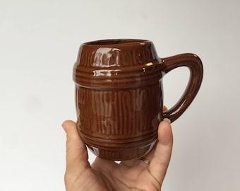 Brown Stoneware Barrel Mug