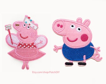 2x princess PEPPA PIG + little brother George patch custom Iron On Embroidered Applique cartoon pink red fun kid diy project dress