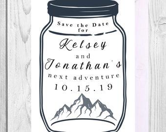 Printable Custom 2-Sided 5 x 7 Mason Jar Adventure Save the Date/ Navy Wedding Save the Date/ Mountains