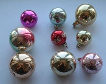 Christmas balls-Set of 9 Soviet Vintage Christmas Tree ornaments USSR Glass ornaments Xmas Tree ornaments Glass Christmas decorations #8