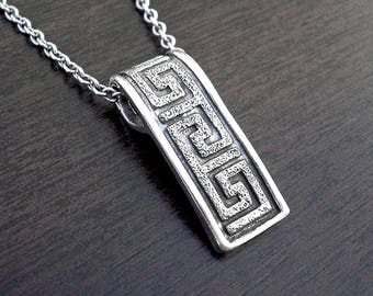 Silver necklace,Greek key necklace,Mens silver necklace,collier homme,pendentif,silver mens pendant,sautoir argent,silver mens necklace