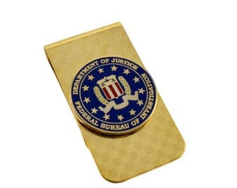 FBI Emblem Federal Agent Police Mens Money Clip Gold NEW