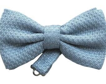 Baby Blue Grenadine Bow Tie, Pre-tied Bow Tie, Pre-tied Bowtie