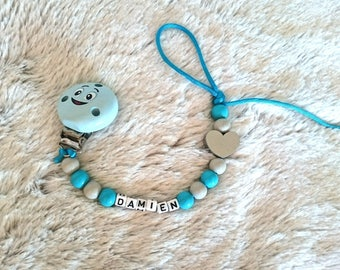 Blue pacifier, smiley heart personalized