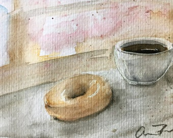Cafe Loose Watercolor Painting 4 x 6 Postcard Original Art, Coffee and Doughnut Painting