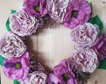 Peony & Anemone, wreath, floral, flowers, decor, door decor, plaque, gift, decoration