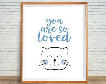 You Are So Loved Print, Cat Nursery Decor, Baby Boy Shower Gift, Nursery Cat Print, Cute Cat Art, Nursery Art Prints Boys, Blue Animal Print