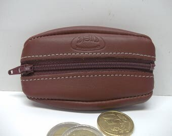 wallet with a zipper extra flat soft leather color: Burgundy. size (10cm).