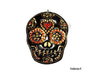 Interleave for creation skull black and gold polymer clay pendant