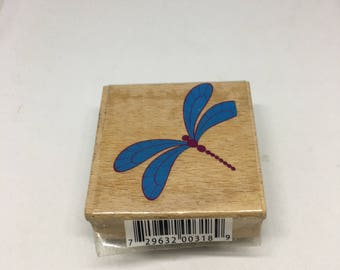 Rubber Stamp / Dragonfly / Holiday Stamp / Scrapbooking / Card Making Supplies / Wood Mounted Stamp