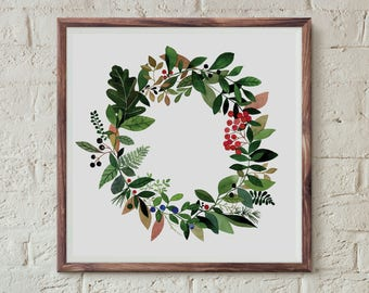 Leśny wianek, Forest wreath - illustration - print