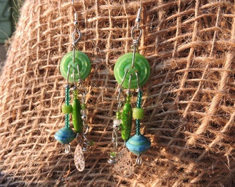 Green, turquoise earrings, emerald green, recycled materials