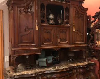 Antique Wood Curio Cabinet on Top w/ Buffet Credenza w/ Marble Top on the Bottom