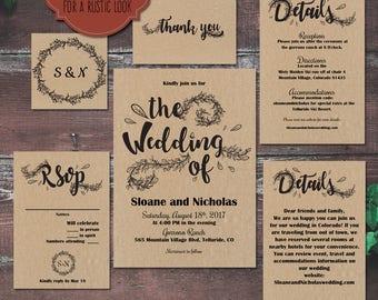 Rustic Wedding Invitation Template Suite, Rustic Wedding Invite, Printable Invitation, Rustic Wedding