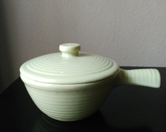 Vintage USA Green Pottery Dish with Lid