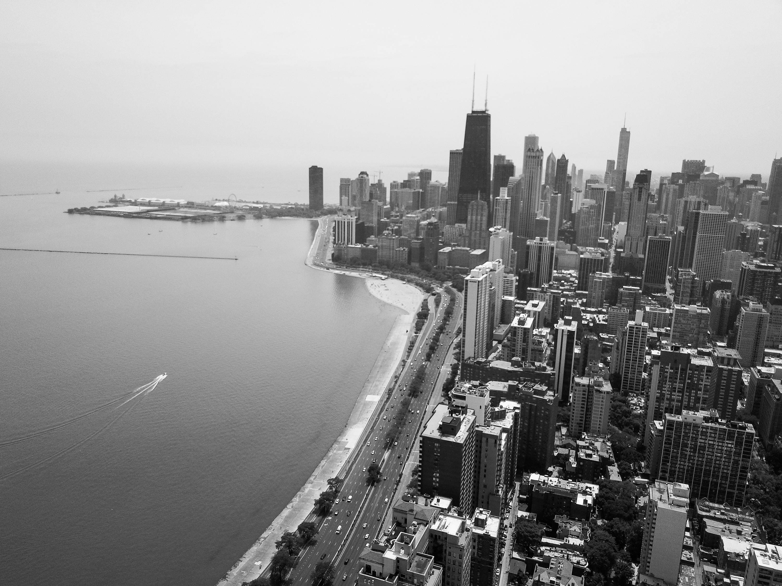 City Skyline (Black U0026 White)  Chicago, Wall Art, Chicago Art, Chicago  Picture, Chicago Canvas, Chicago Wall Art, Aerial, Chicago Photography