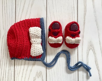 Baby Girl Crochet Fourth of July/Memorial Day Sunbonnet and Mary Jane Slippers with Bows, Red/White/Blue