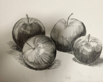 "Apples, 2016, 18x24"", graphite"