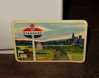 1962 Standard Oil Company American Oil Company Wallet Calendar Card - As You Travel Ask Us Torch Sign