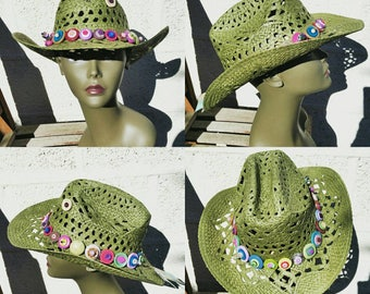 Eye-catching Unique Summer Chic Button & Bead Boho Festival Cowgirl/Cowboy Hat, each one individually handmade and decorated with love!