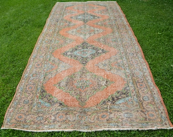 Turkish Runner Rug Home Decor Rugs Distressed Organic Wool Rug 152 x 348cm Vintage Oushak 5' x 11.4' Antique Carpet Long Runners Code 612