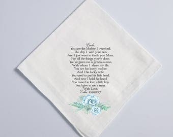 Wedding Handkerchief, Mother of the Groom Handkerchief, Mother in Law, Mom, Thank you Parents, Thank you gift, MIL, blue succulents  89