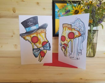 Pizza Engagement/ Pizza Wedding Announcement/ Pizza Bride/ Pizza Groom/ Pizza Wedding/ Pizza Greeting Cards/ Pizza Love/ Blank Card/ Pizza