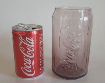Coca Cola Glass Pink Color Can Shape Advertising Olympic Games Rio 2016 & Empty Can In Greek Coca Cola Collectables