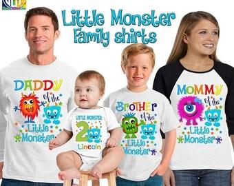15% Off Little Monster birthday shirt/ monster shirt/ birthday boy shirt/ first birthday monster shirt/personalized little monster shirt/SCT
