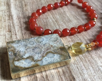 Purified Journey gemstone necklace with agatized fossil pendant