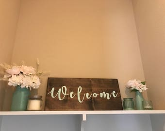 Welcome Wooden Sign