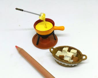 Miniature Fondue Cheese, Dollhouse Food, Dollhouse Miniatures