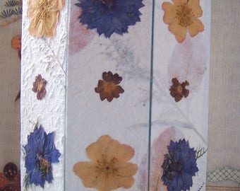 Miniature Folding Screen - Real Pressed Flowers - Room Divider - 1/12th scale - Doll House - Miniature World