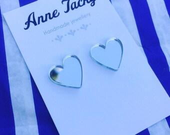 MIRROR HEART earrings laser cut acrylic reflective stud earrings tacky festival wear kitsch retro style love