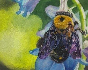 Bumble Bee, Purple flower, Watercolor print, Bee