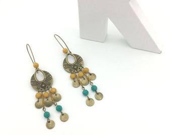 Blue, yellow and bronze ethnic earrings