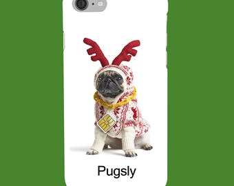 Personalised Name, Initials - Christmas Pug Reindeer - Dog - Protective Glossy Phone Cover Case iPhone iP Samsung Galaxy GS