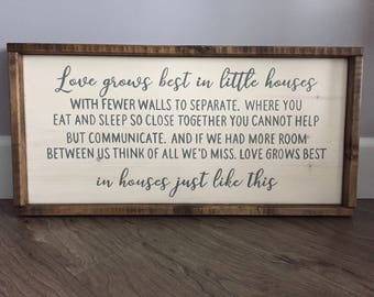 Love grows best in little houses sign, Family Sign, Rustic Wood Decor, Love grows Best, Little houses, Farmhouse Style, Framed Wood Sign