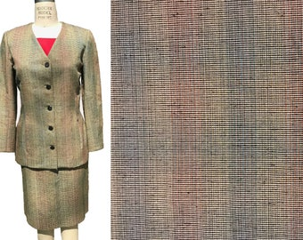 Tan Blue Red Black Stripe Raw Silk Suiting Fabric - By the Yard