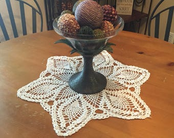 "Pineapple Lace Crochet Doily Centerpiece 20"" Round"