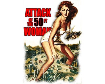 T-SHIRT: Attack of the 50 Foot Woman - Classic T-Shirt & Ladies Fitted Tee - (LazyCarrot)
