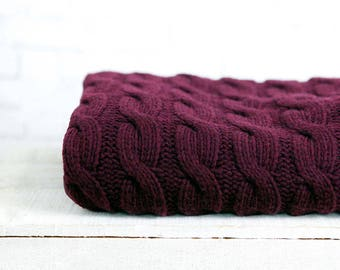 Alpaca Knit wool fabric cotton burgundy Marsala knitting knit Grey