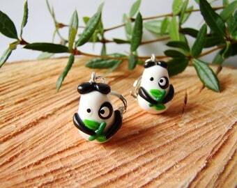 Clip earrings pandas Fimo - gift girl - animal earrings - animal clip on earrings