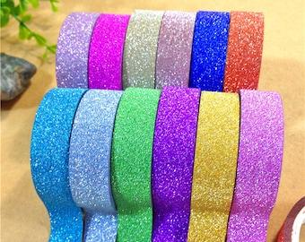 Glitter adhesive tape - 15 mm x 4 m - light blue