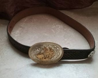 Hand tooled man's leather brown belt with silver and gold belt buckle, belts, men's accessories, leather goods, cowboys, silver belt buckles