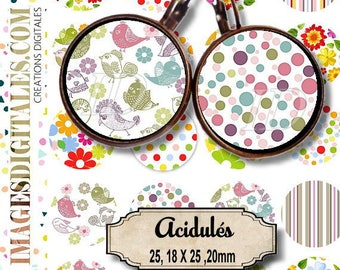 ACIDULES Digital Collage Sheet Printable Instant Download for art jewelry scrapbooking bottle caps magnets pins