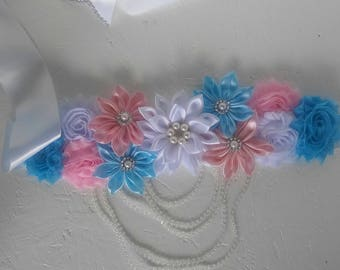 Pink and blue maternity sash