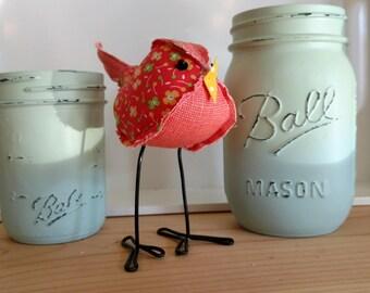Fabric bird, melon floral, fabric birds, cute stuffed bird, cloth birdie, stuffed animal, bird collection, bird, birdie, melon, bird