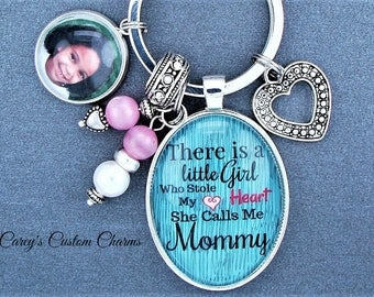 Little Girl Stole My Heart She Calls Me Mommy Custom Photo Charm Key Chain, Key Ring, Picture Charm, Mom, Aunt, Big Sister Gift, Keychain